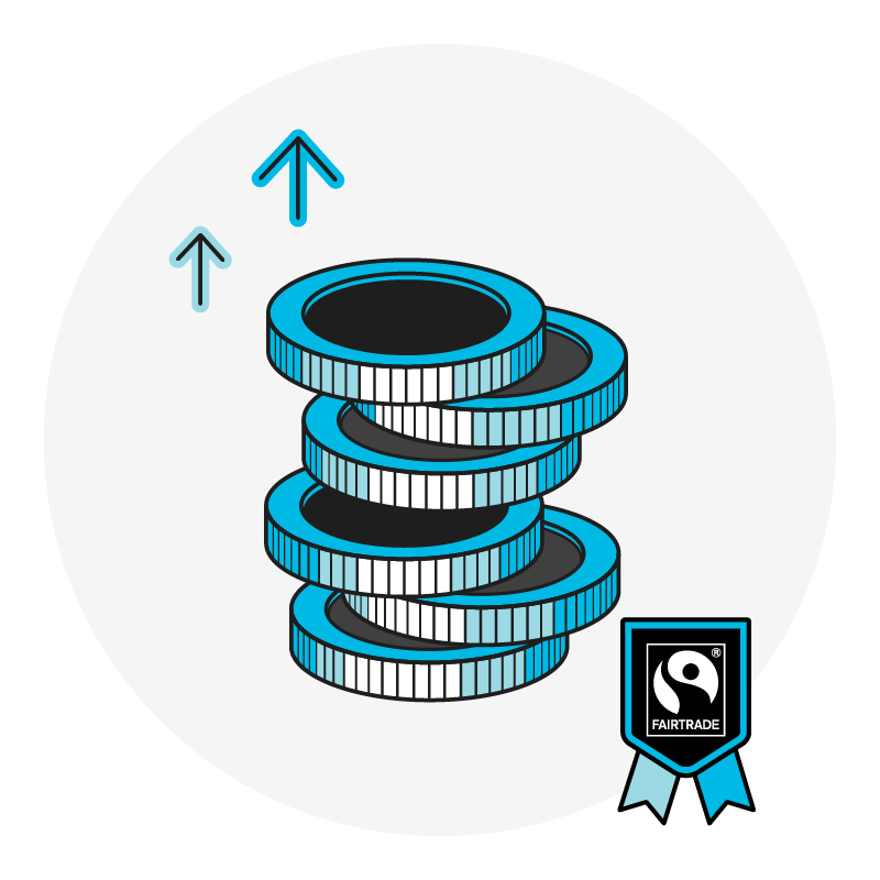 graphic of a stack of coins. Two upward arrows are beside them