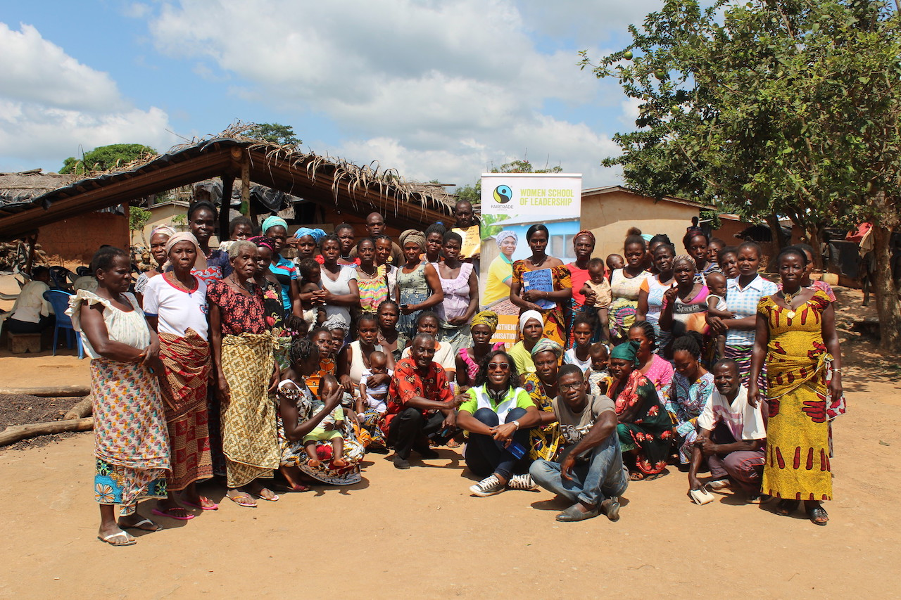 Photo from trainings for 2nd cohort of Women's School of Leadership in Cote d'Ivoire. July 2019-July 2020. 30 women and 10 men from 7 cooperatives in western Cote d'Ivoire participated in this programme. Cooperatives: SOCOOPAR, CAUD, CABF, SOCASIB (member of ECOOKIM union), CPRCANAAN, ECAM, SOCOOPEM.