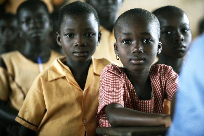 Pupils sitting in class.
